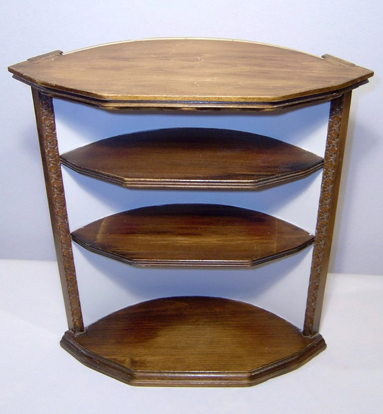 Curved Wood Wall Corner Shelf Hand Crafted 3 Tiers