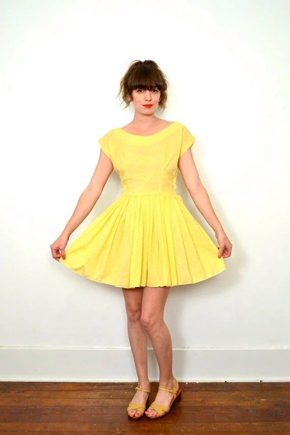 1950s bright yellow mini dress simple sun dress by