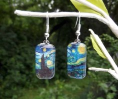 Starry Night art earrings van Gogh small glass earrings