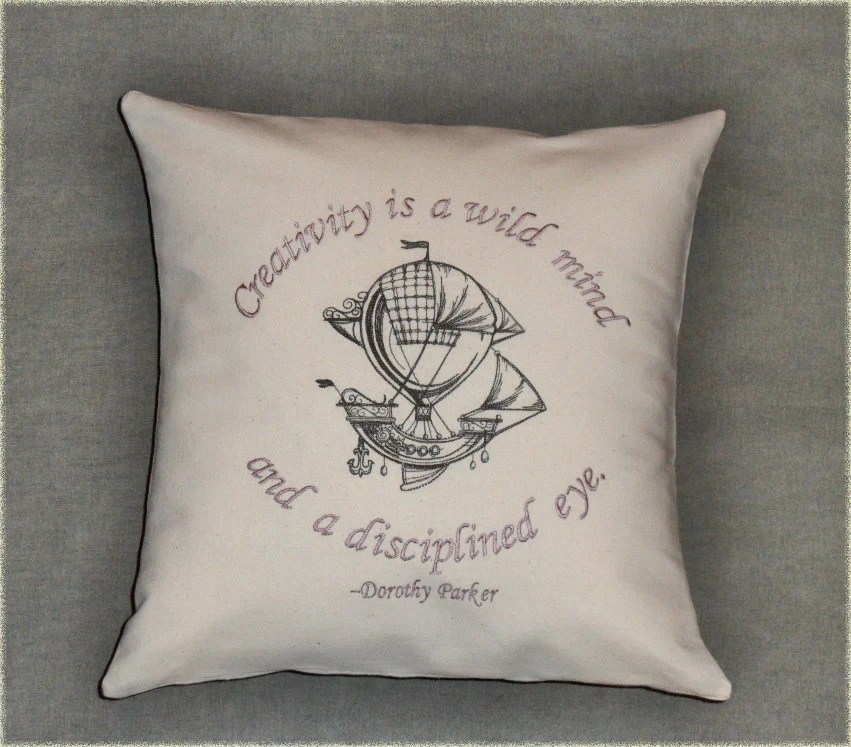 "Pillow cover feat. Dorothy Parker quote ""Creativiy"" 16x16 inch embroidered decorative pillow cover on off-white cotton"