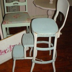 Kitchen Step Stool With Seat Cabinet Drawers Vintage Cosco Metal Ladder Chair Cottage