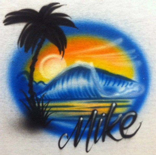 Beach Scene Custom Airbrush Shirt Single Side