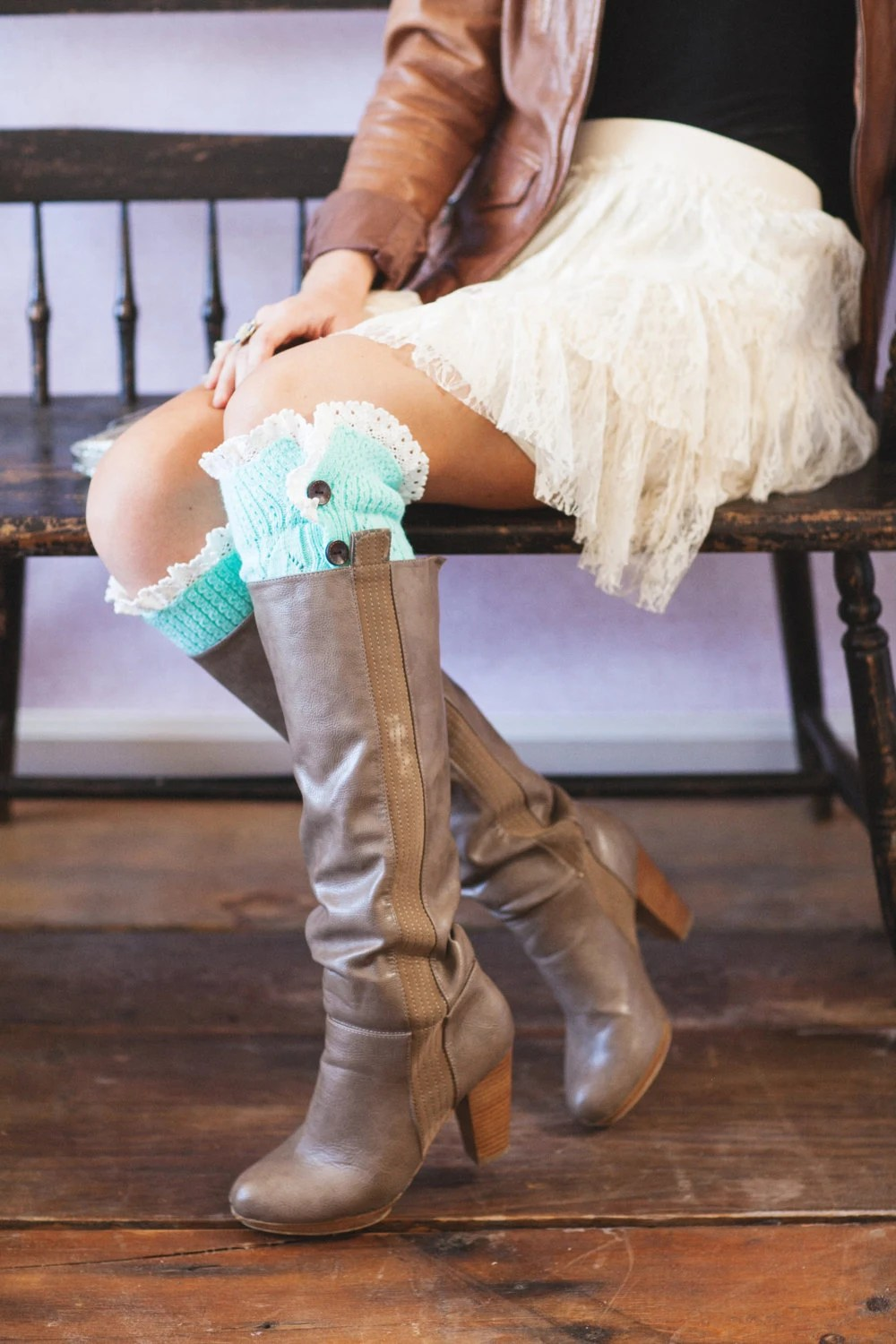 Mint Knitted Leg Warmers Boot Topper Crochet Lace Trim | Wooden Buttons  | Stocking Stuffers in Mint (LW-MINTBU)