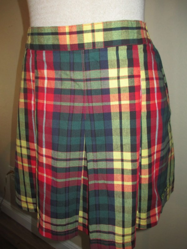 Vintage Tennis Skirt Plaid In Green Red