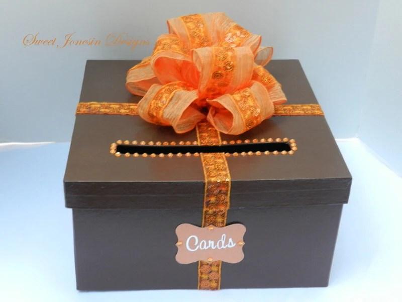 Fall Wedding Card Box Brown & Orange By SweetJonesin On Etsy