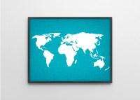 World Map Linen Art Print Modern Wall Art Teal by BySamantha