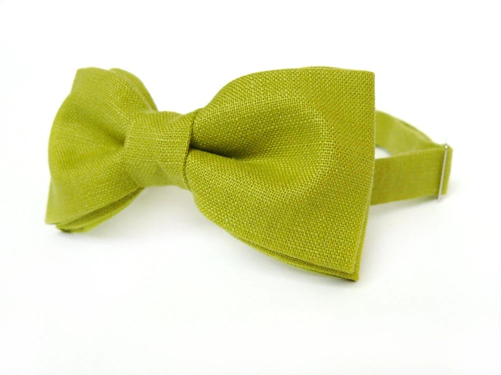 Mens bow tie by Bartek Design - groom wedding classic retro necktie chic handmade gift for him ready to wear - linen green - BartekDesign