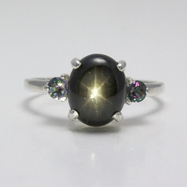 Genuine 3ct 6-ray Black Star Sapphire Ring Sterling Silver