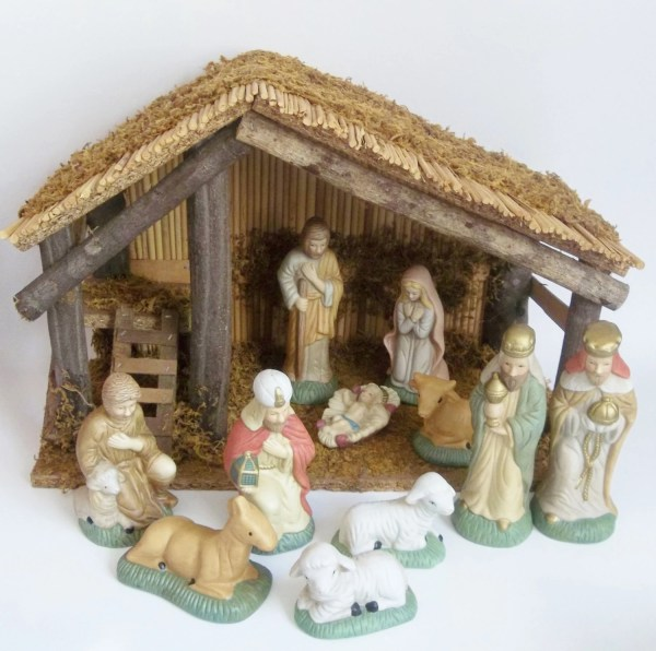 Vintage Nativity Set 1980s Christmas Scene With Porcelain