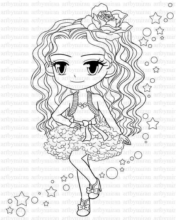Digital Stamp-Star Pretty Girl Coloring page Big eyed girl