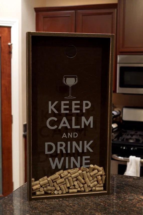 Wine Cork Holder Shadow Box Keep Calm and Drink Wine