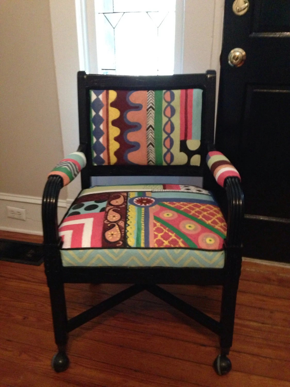 desk chair retro apartment size swivel recliner chairs whimsical painted
