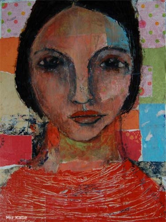 Acrylic Portrait Painting Collage 9x12 That Look, Original, Mixed Media, Girl, Piercing Eyes, Face, Orange, Colorful