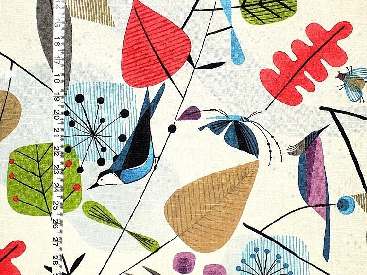 Scandinavian Bird Fabric Retro Butterfly Bee Funky Home Decorating
