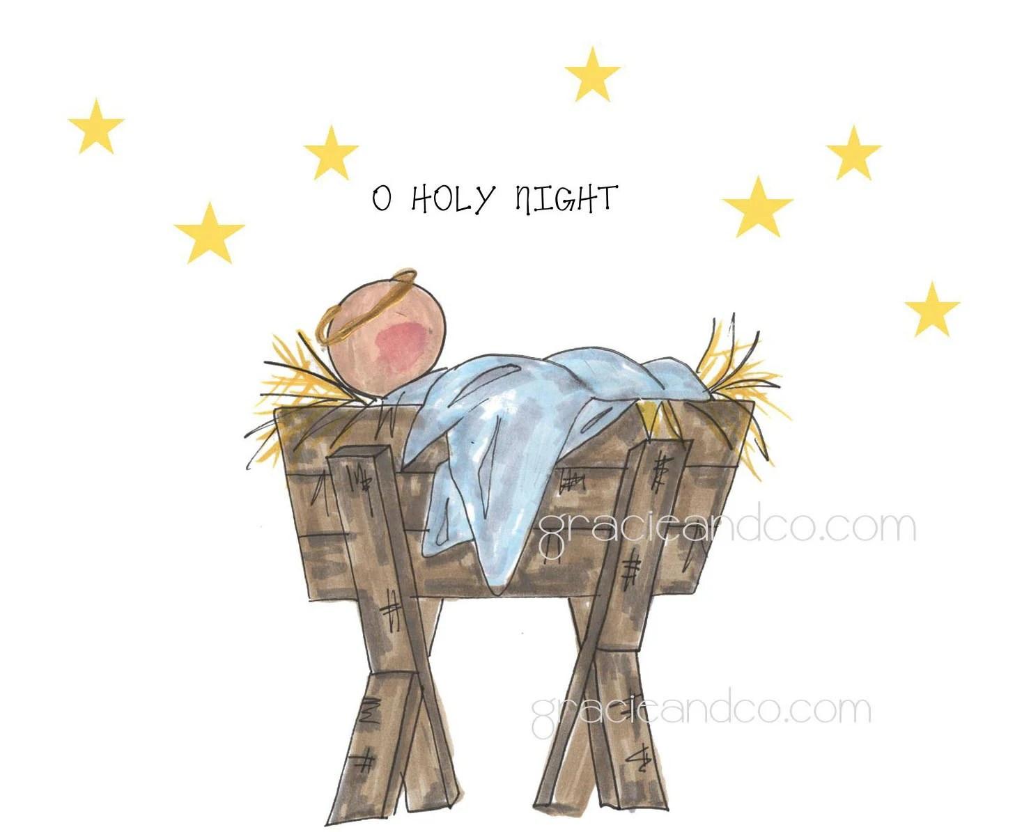 Christmas Notecard Custom Hand Drawn Manger Baby Jesus