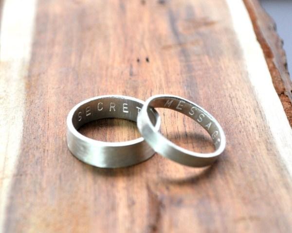 Secret Message Rings. Custom Stamped Sterling Silver Wedding