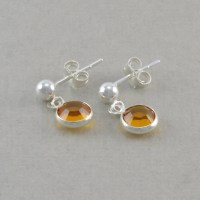 Items similar to November Birthstone Earrings. for Little ...