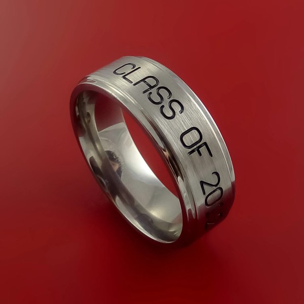 Titanium Unique Personal Message Ring Class Band