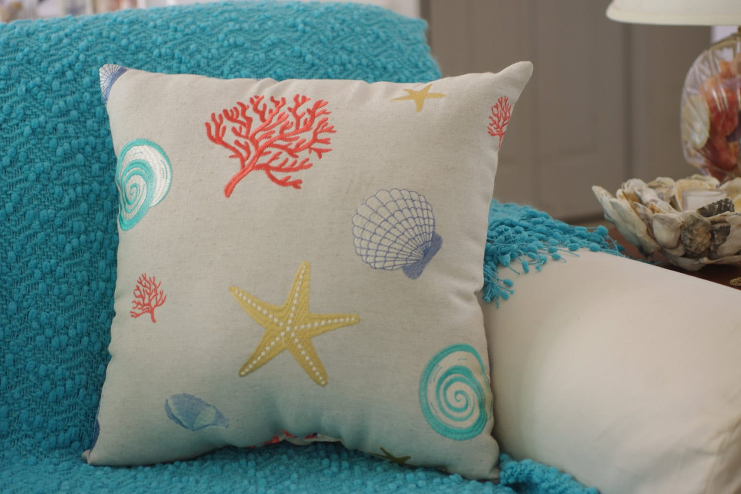 beach themed sofa pillows refurbished sofas bristol decor embroidered seashell starfish and sea fan linen
