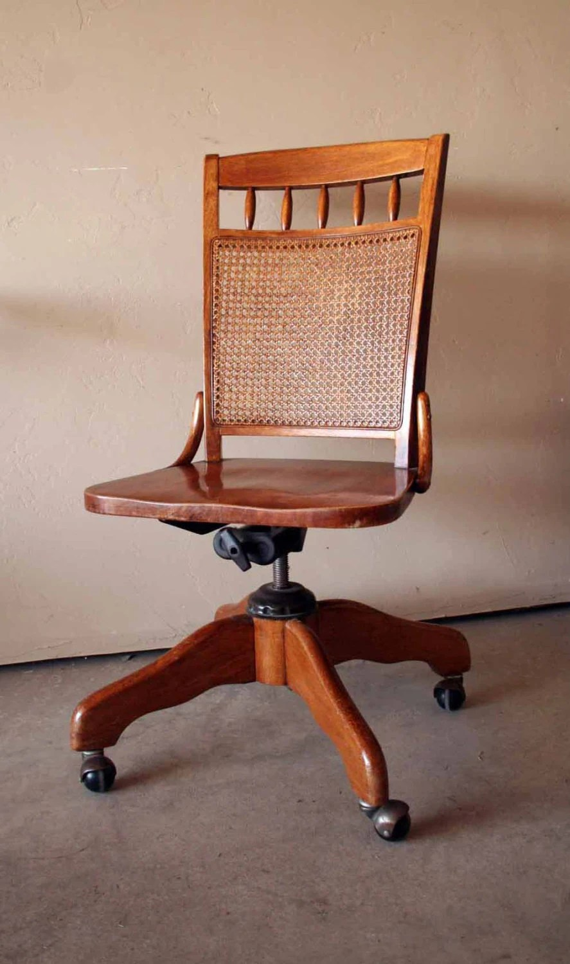 wood desk chair no wheels black and white dining beautiful vintage wooden banker's swivel by turtlehillshop