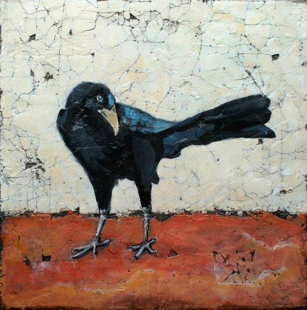 Original Crow Painting Bird Art Acrylic Mixed Media