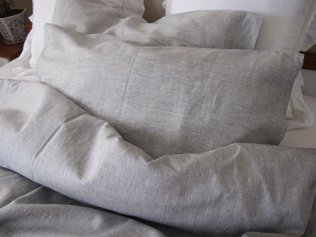 Solid Gray Grey Linen Full Queen King Duvet Cover With Bedding