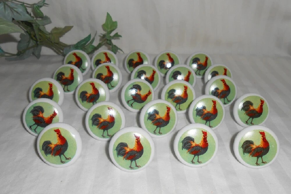 Vintage Porcelain Rooster Drawer Pulls Country Kitchen Pulls