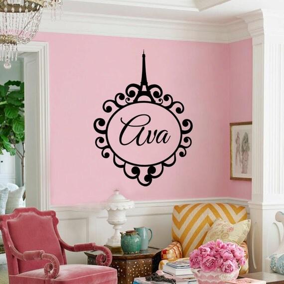 Girls Wallpaper Decals With Eifle Tower Eiffel Tower Monogram Paris Girls Monogram Wall By
