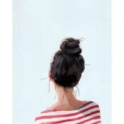 8x10 hair art bun print top knot