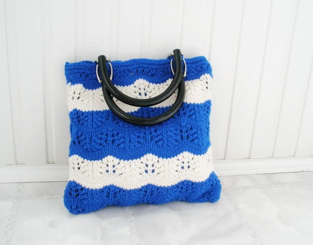 Nautical fashion tote bag Blue white stripes Lace knit Handmade handbag Beach purse shopper Gift for mom sister Summer accessories