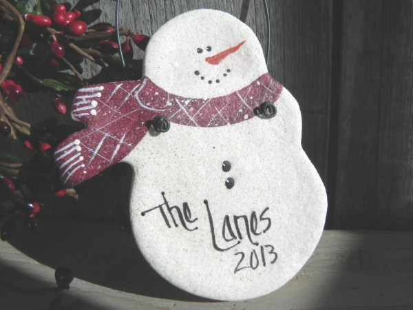 Salt-Dough Snowman Ornament