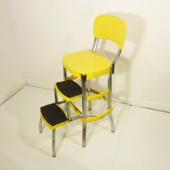 Chair Stool Retro Small Leather And Ottoman Yellow 50s Vintage Step Kitchen Cosco