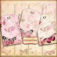 Shabby Chic Gift Tags butterfly digital tags craft supplies