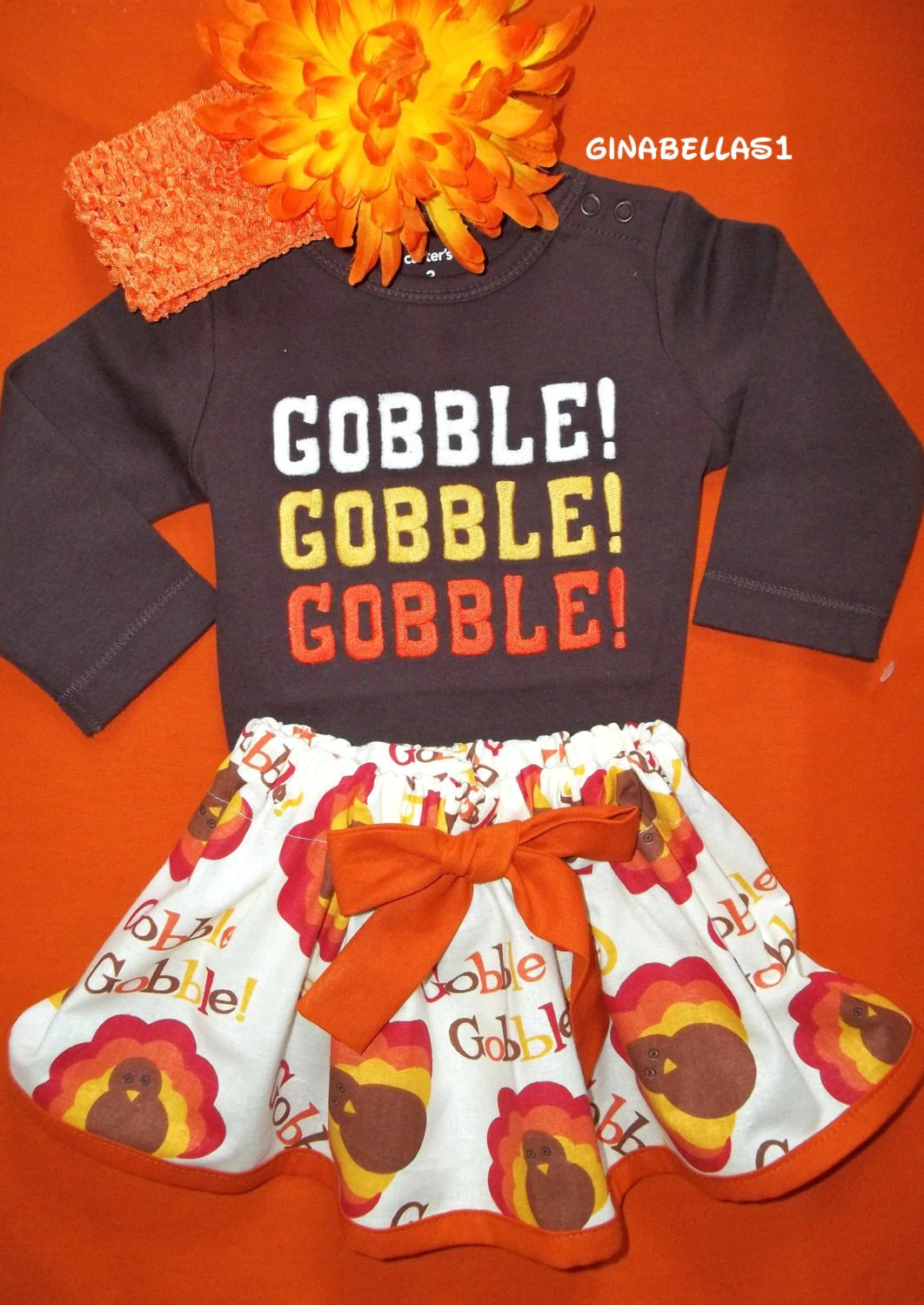 My First Thanksgiving Day Baby Girl Outfit Onesie By