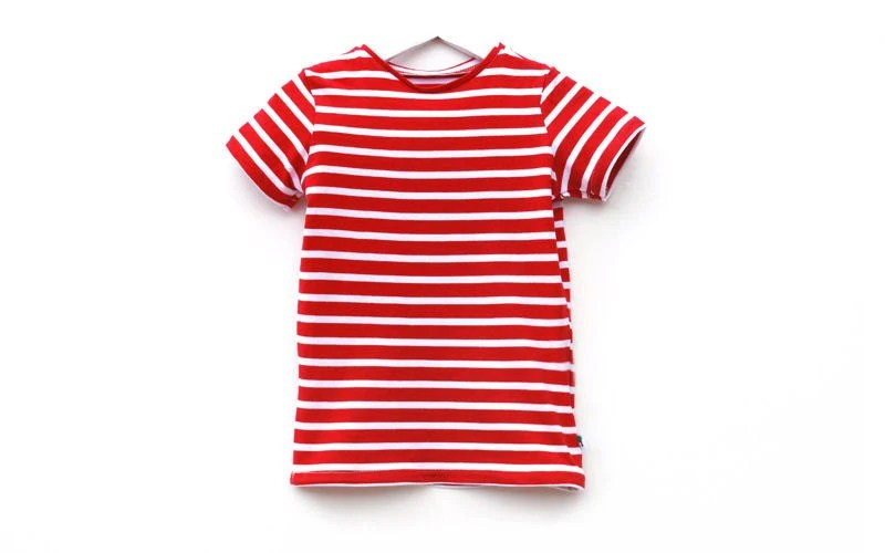 Toddler shirt red white stripe tee beach seaside by
