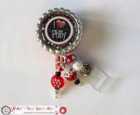I Love Philly Retractable Badge Reel Designer Badge Clips