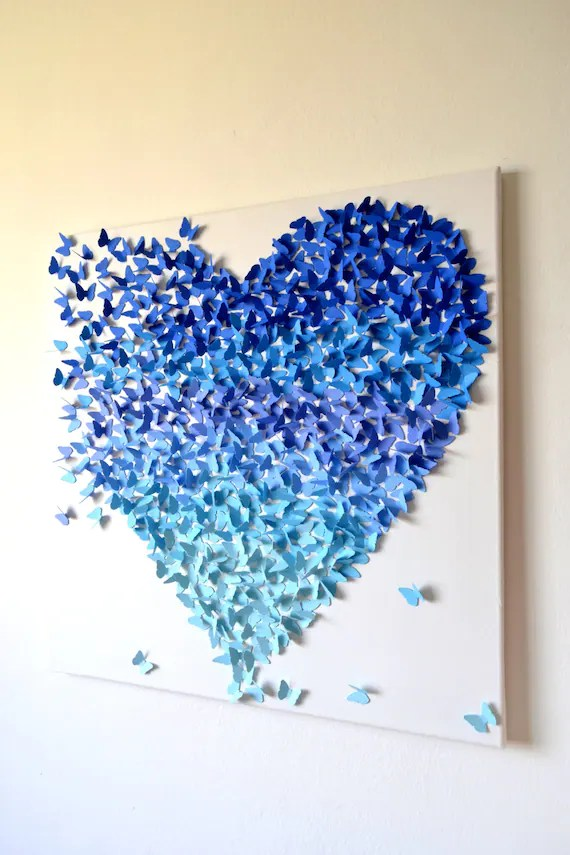 Items Similar To 3D Blue Ombre Butterfly Heart 3D