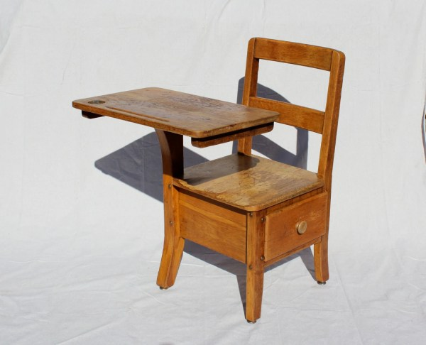 Antique Oak School Desk Student