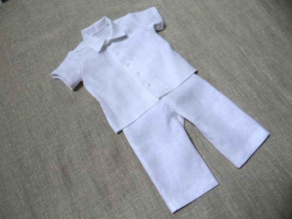 Boys White Linen Pant Suit