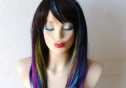 rainbow ombre wig. straight hairstyle
