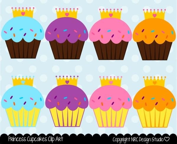princess cupcakes clip art digital