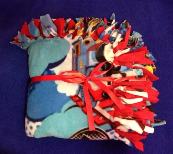 Thomas Train & Red Fleece Tie Blanket