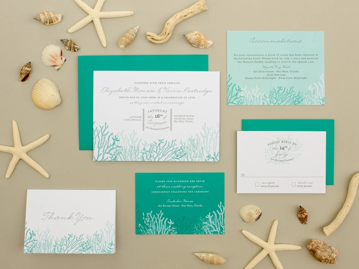 Destination Wedding Invitation Coral Reef Invitation Beach