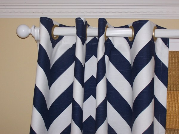 Navy White Wide 2 CHEVRON CURTAINS Premier Fabric