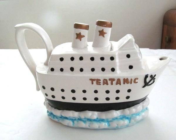 Vintage Ceramic Teapot Tea Pot Titanic Teatanic Ship