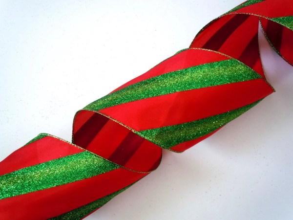 5 Wide Ribbon Wired Christmas Decorations Red