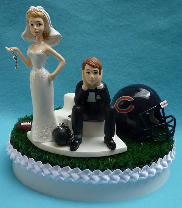 Wedding Cake Topper Chicago Bears Football Themed Ball and