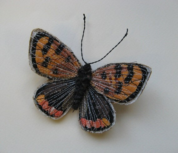 Embroidered butterfly brooch, 'Small Copper', textile art, soft sculpture, cottage chic
