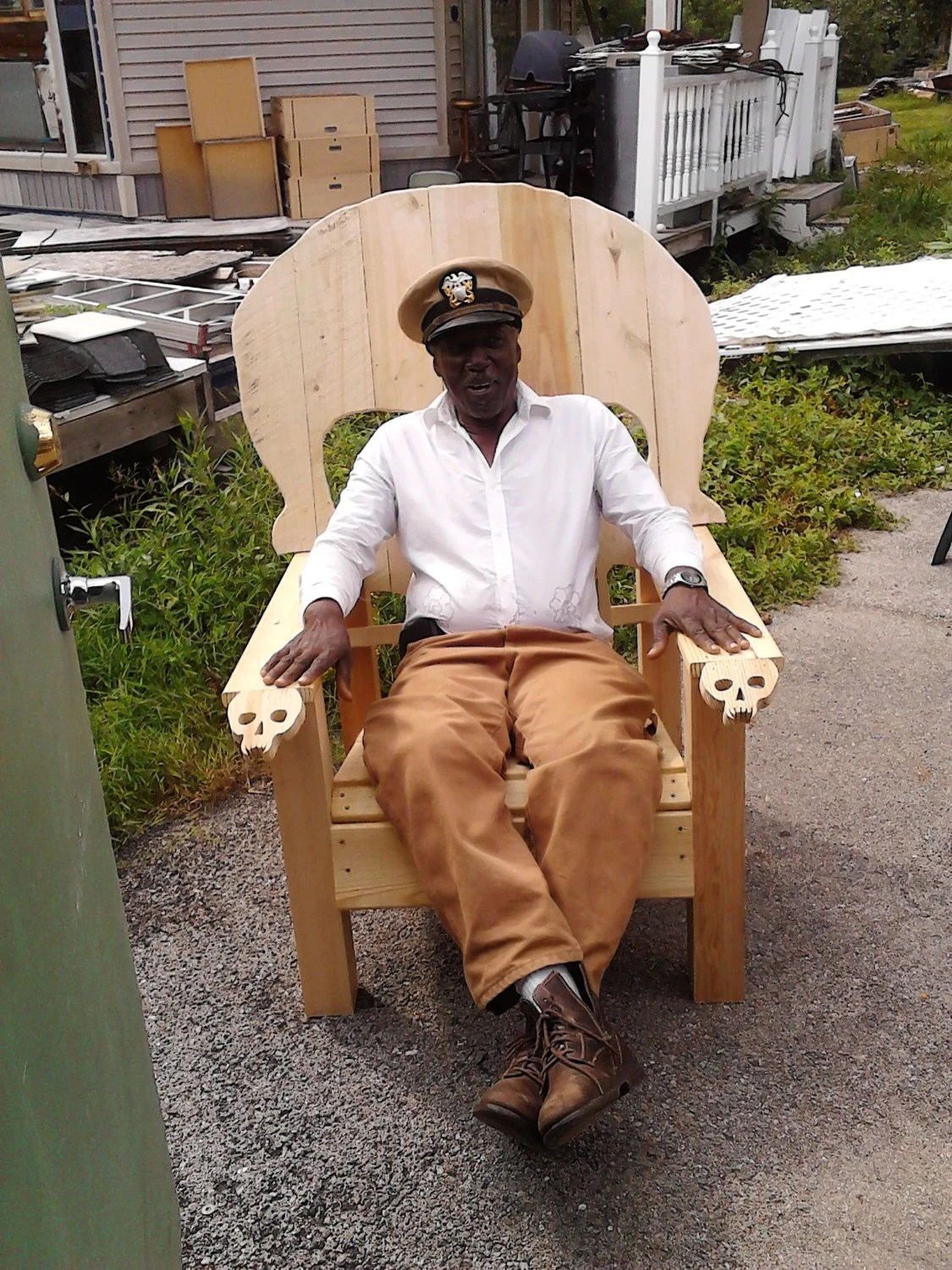 wooden skull chair exercise for seniors adirondack yard furniture solid wood
