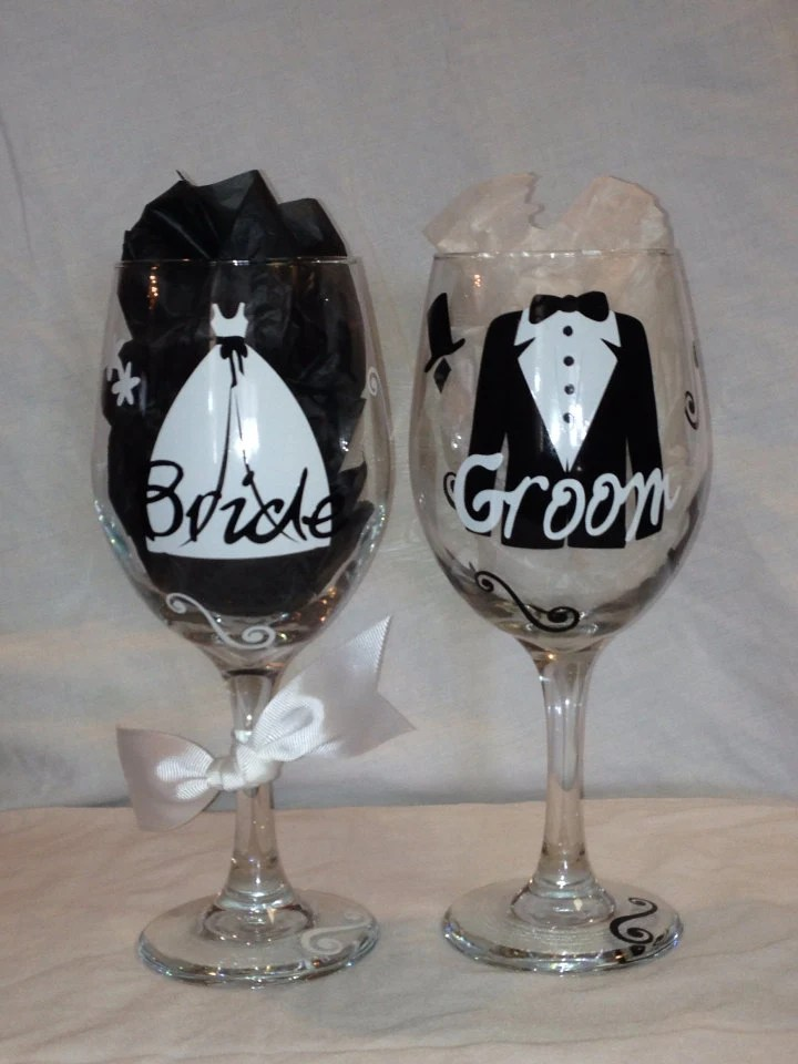 Set of Bride and Groom Wine Glasses